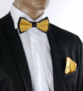 Yellow a. Black Crystal Bow Tie Set . Silk (C1PT-12)