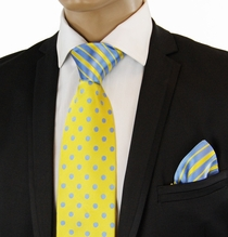 Yellow a. Blue Contrast Knot Silk Tie Set by Steven Land