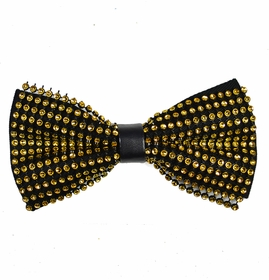 Yellow and Black Crystal Bow Tie
