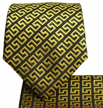 Yellow and Black Men's Tie and Pocket Square