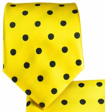 Yellow and Black Necktie and Pocket Square