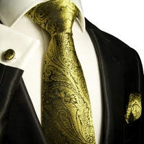 Yellow and Black Silk Tie Set by Paul Malone (578CH)