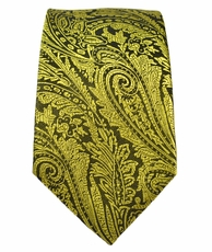 Yellow and Black Slim Silk Tie by Paul Malone