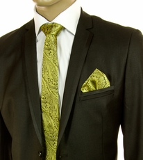 Yellow and Black SLIM Silk Tie Set by Paul Malone (Slim578H)