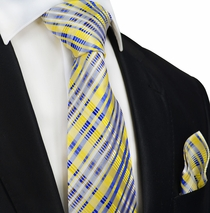 Yellow and Blue Silk Tie and Pocket Square by Paul Malone