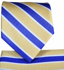 Yellow and Blue Striped Tie and Pocket Square