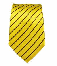 Yellow and Brown Slim Tie by Paul Malone . 100% Silk