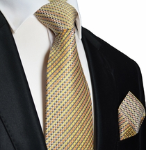 Yellow and Gray Silk Tie Set . Paul Malone Red Line