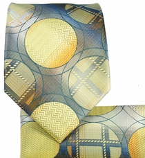 Yellow and Grey Necktie and Pocket Square Set