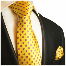 Yellow and Hot Pink Silk Tie and Pocket Square by Paul Malone