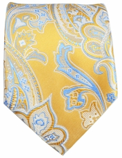 Yellow and Light Blue Paisley Men's Tie