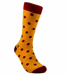 Yellow and Red Cotton Dress Socks by Paul Malone
