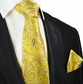 Yellow and Tan Paisley Silk Tie and Pocket Square by Paul Malone