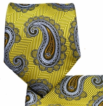 Yellow, Blue and Orange Paisley Tie and Pocket Square