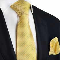 Yellow Checked Silk Tie and Pocket Square by Paul Malone
