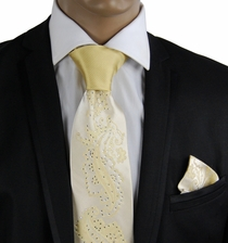 Yellow/Gold Steven Land Silk Tie Set with Crystals (CR605)