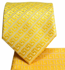 Yellow Men's Necktie and Pocket Square