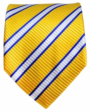 Yellow, Navy and White Paul Malone Silk Tie (254)