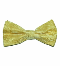 Yellow Paisley Bow Tie . Pre-Tied (BT20-H)