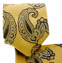 Yellow Paisley Necktie and Pocket Square (Q577-C)