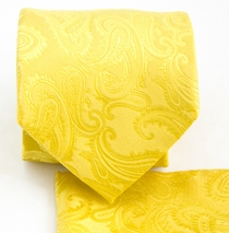 Yellow Paisley Necktie and Pocket Square Set (Q600-H)
