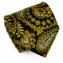 Yellow Paisley Necktie on Black . Paul Malone . 100% Silk (550)