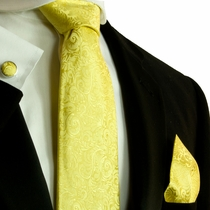 Yellow Paisley Silk Necktie Set by Paul Malone (582CH)