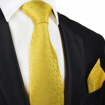Yellow Paul Malone Silk Tie and Pocket Square Set