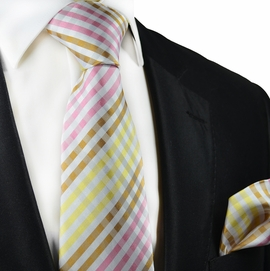 Yellow, Pink and Brown Gingham Silk Tie Set by Paul Malone