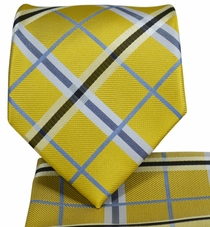 Yellow Plaid Necktie and Pocket Square