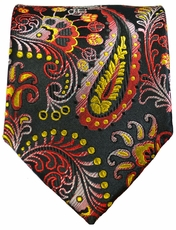 Yellow, Red and Black Paisley Necktie by Paul Malone . 100% Silk (553)