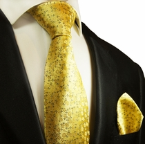 Yellow Silk Tie and Pocket Square Set by Paul Malone Red Line