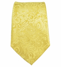 Yellow Slim Necktie by Paul Malone. 100% Silk