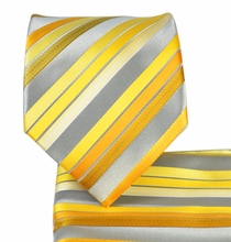 Yellow Striped Necktie and Pocket Square