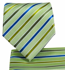 Green Striped Necktie and Pocket Square Set (Q575-G)
