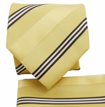 Yellow Striped Tie a. Pocket Square Set (Q506-B)