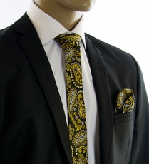 Yellow, Tan and Black SLIM Silk Tie Set by Paul Malone (Slim550H)
