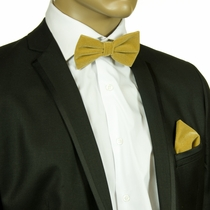 Yellow Velvet Bow Tie and Pokcet Square Set