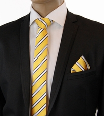 Yellow, White a. Blue SLIM Silk Tie Set by Paul Malone