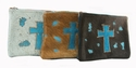 0863 Acid washed browns, turquoise Cowhide Cross cosmetic bags