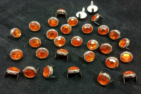 T2345-2P Orange  1/2 inches 12.7mm Synthetic Crystal Gem Round Spots 10/pk