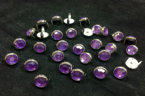 T2345-2P Purple  1/2 inches 12.7mm Synthetic Crystal Gem Round Spots 10/pk