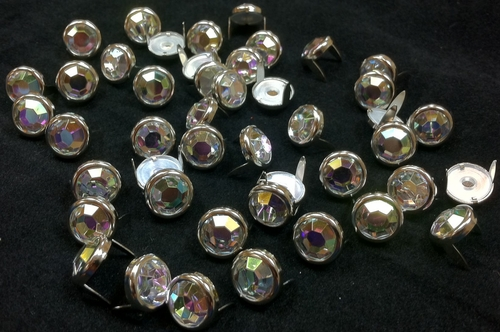 T2345-2P Rainbow  1/2 inches 12.7mm Synthetic Crystal Gem Round Spots 10/pk