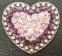 1181860180 Heart Amethyst and Light Amethyst Rhinestone Concho