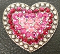 1181861330 Heart Rose,Fuchsia and Ruby Rhinestone Concho