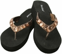 21883-206 Bronze Crystal Fashion Flip Flops