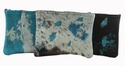 2479 Acid Washed Cowhide Turquoise Cosmetic bags
