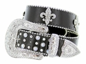 3608 Rhinestone Cowgirl Bling Crystal Stones With Fleur-de-lis Western Belt - Black