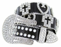 3628 Cross and Love Crystal Stones Western Leather Belt