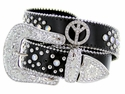 3663 Black Genuine Leather Peace Rhinestone Belt